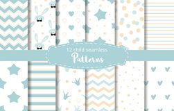 Blue background baby boy design Baby shower vector set rabbit stars zigzag patterns. Blue background Set of seamless delicate geometric patterns with stars royalty free illustration