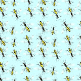 Blue background with bee Royalty Free Stock Photo