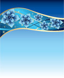 Blue background with blue and gold flowers Royalty Free Stock Images
