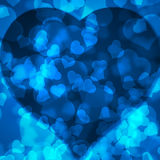 Blue background blurred lights heart Royalty Free Stock Image
