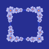 Blue background with border and flowers. Illustration. Stock Photography