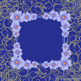 Blue background with border, flowers and ornaments. Vector illustration. Stock Image