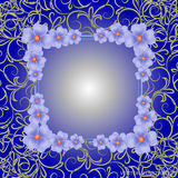 Blue background with border, flowers and ornaments. Vector illustration. Royalty Free Stock Photos