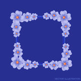 Blue background with border and flowers. Vector illustration. Stock Photography