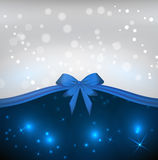 Blue background with bow. Shiny background with blue ribbon bow Stock Image