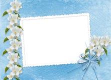 Blue background with branch of Sakura. Blue abstract background with branch of Sakura royalty free illustration