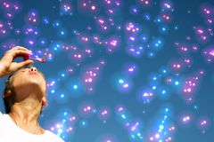 Blue background with bubbles Stock Photo