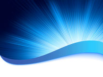 Blue background with burst rays. EPS 8 stock illustration