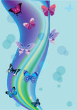 Blue background with butterflies and circles Stock Photos