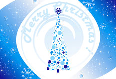Blue Background card for Christmas. Blue Background card for new year and for Christmas witn new year tree and snow stock illustration