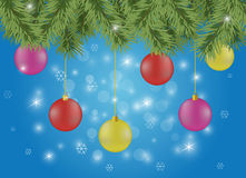 Blue background with chrismas decorations Stock Photography