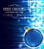 Blue background with Christmas ball Royalty Free Stock Image