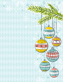 Blue background with christmas balls Royalty Free Stock Photo