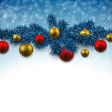 Blue background with christmas balls. Stock Photos