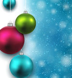 Blue background with christmas balls. Royalty Free Stock Photography