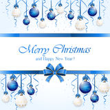Blue background with Christmas balls Royalty Free Stock Image