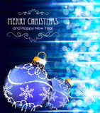 Blue background with Christmas balls Stock Image