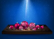 Blue background with Christmas balls. Blue background with Christmas balls on wooden shelf. Vector illustration Royalty Free Stock Images