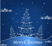 Blue background with a Christmas tree Stock Images