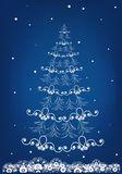 Blue background with a Christmas tree Royalty Free Stock Images