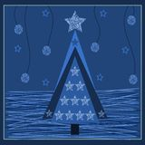 Blue  background with Christmas tree Stock Images