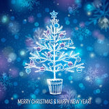 Blue background with christmas tree, vector. Illustration stock illustration