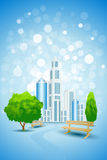 Blue Background with City Landscape Tree and Bench Stock Image