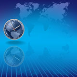 Blue background with clock and earth map Royalty Free Stock Photography