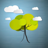 Blue Background with Clouds and Tree Royalty Free Stock Photos