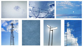 Blue Background Collage Royalty Free Stock Images
