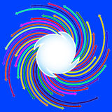 Blue background with colored arrows located on a spiral Stock Photo