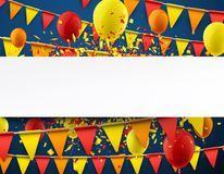 Background with flags and balloons. Blue background with colorful flags, balloons and confetti. Vector paper illustration Royalty Free Stock Photo