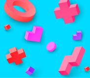 Blue background with colour 3d geometric figures. Blue background with colour 3d geometric figures pattern. Vector illustration.r Stock Photo