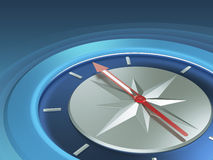 Blue background with compass. Determination of direction - Business concept Royalty Free Stock Photography