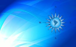 Blue background with compass Stock Photos