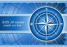 Blue background with compass rose. Additional vector format in EPS 10 stock illustration