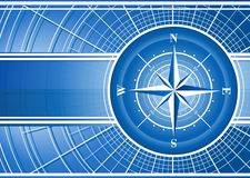 Blue background with compass rose. Stock Photo