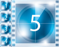 Blue background countdown design. From 5 to 1 Royalty Free Stock Photography