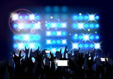 Blue of background crowd of party people Stock Images