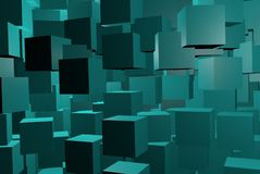 Blue background with cubes and 3D render stock illustration