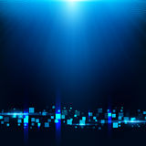 Blue background with cubes, particles Stock Photo