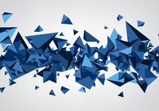 Blue background with 3d trigons. Royalty Free Stock Photography