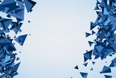 Blue background with 3d trigons. Royalty Free Stock Images