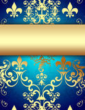 Blue Background with Decorative Golden Pattern Stock Images