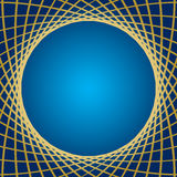 Blue vector background with distorted gold grid. Blue background with distorted gold grid - vector Stock Image