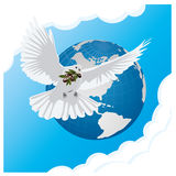 blue background with dove and globe Royalty Free Stock Photos