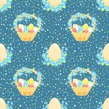 Blue background with easter basket Stock Images