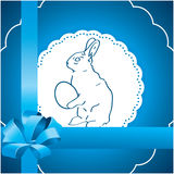 Blue  background with Easter bunny. Blue square background with Easter bunny Royalty Free Stock Photo