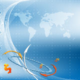 Blue background. Eps10. Blue vector  background with map and arrows. Eps10 Stock Images
