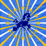 Blue background with european union map Stock Photos